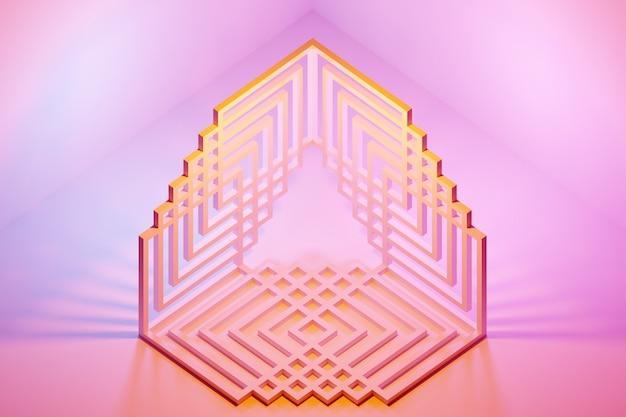 3d иллюстрации желтый монохромный треугольник