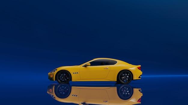 파란색 표면에 노란색 차량의 3d 그림