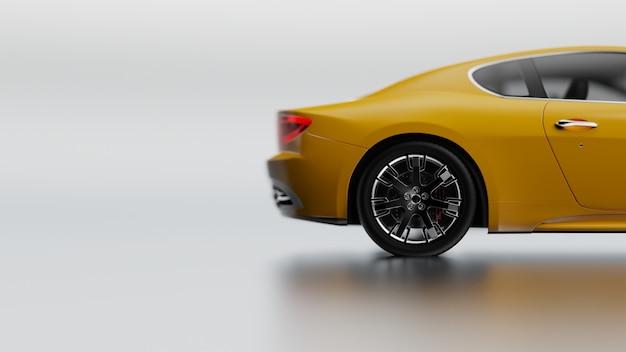 흰색 표면에 노란색 차량의 3d 그림