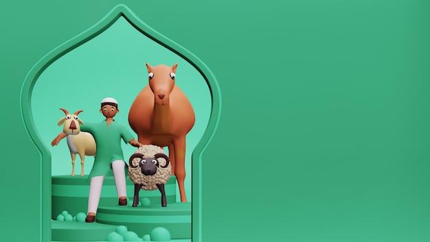 녹색 배경에 양, 염소, 낙타 및 모스크 문 모양을 들고 젊은 이슬람 소년의 3d 그림.