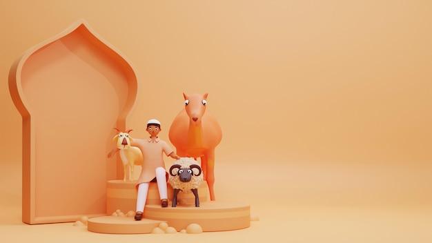오렌지 배경에 양, 염소, 낙타 및 모스크 문 모양을 들고 젊은 이슬람 소년의 3d 그림.