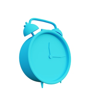 3d illustration old alarm clock with white background