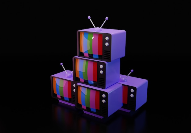 3d illustration of old-fashioned televisions isolated