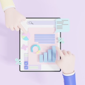 3d illustration, online marketing, financial report chart, data analysis, concept hand holding tablet with data chart. research, planning, and statistics.