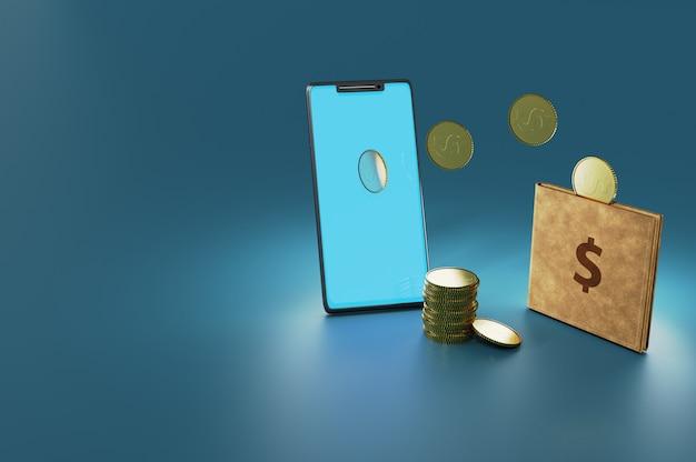 3dイラスト。オンライン送金、モバイル決済。スマートフォンと財布のコンセプト、ランディングページ、テンプレート、ui、ウェブ、モバイルアプリ、ポスター、バナー、チラシに使用できます