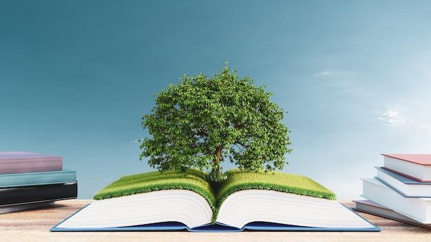 3d 그림입니다. 푸른 하늘 배경에 푸른 잔디밭과 나무가 있는 책