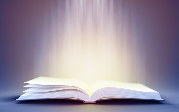 3d illustration of open book with magic light