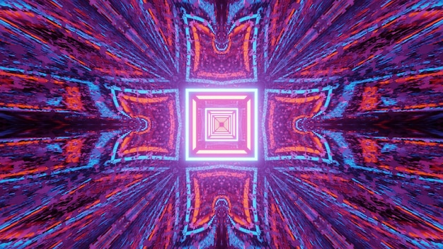 3d illustration optical illusion abstract art design with repetitive neon lines creating square shaped pattern with colorful reflections and distortions