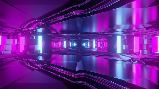 3d illustration optical illusion abstract sci fi design inside of endless tunnel in bright neon lights