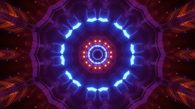 3d illustration optical illusion abstract visual  with bright contrast neon geometric pattern of sci fi space tunnel