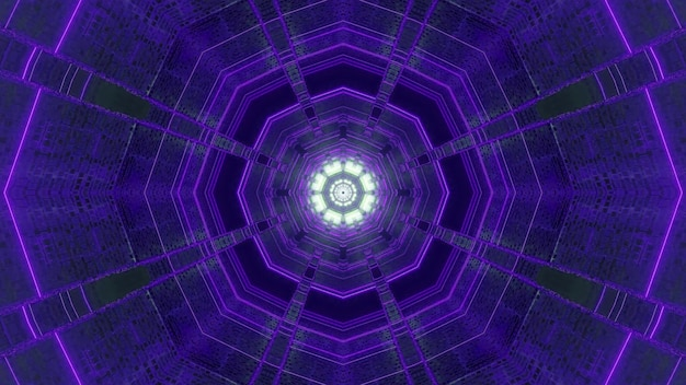 3d illustration optical illusion visual abstract background of polyhedron tunnel with violet neon light effect and glowing flower shaped bottom