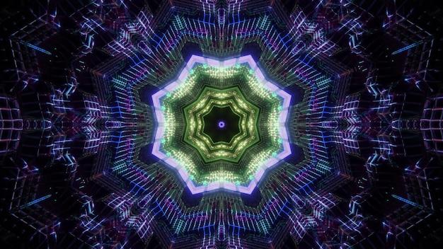 어둠 속에서 빛나는 광선으로 추상 마법 다채로운 팔각형 터널의 3d 그림 착시 시각적 배경