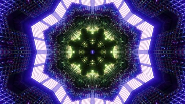 팔각형 프레임과 밝고 화려한 조명 추상 공상 과학 터널의 3d 그림 착시 시각적 배경
