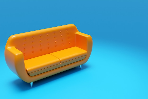 3d illustration of an orange sofa in a retro 60s style on a blue background