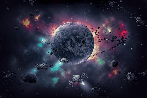 3d иллюстрации космической галактики со звездами и планетами и космическим кораблем