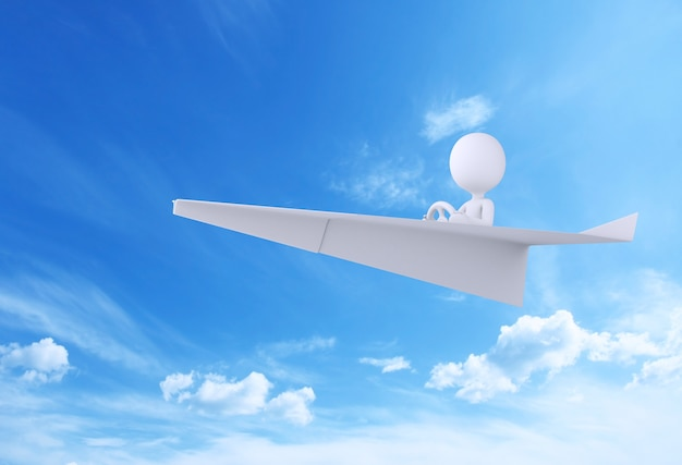 3d illustration. paper airplane flying in blue sky