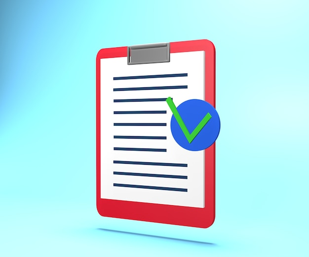 3d illustration of paper with text and approve mark. 3d rendering insurance document paper with approve mark