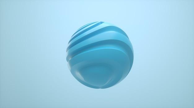 3dイラスト。孤立した背景にねじれた線でパステルカラーの球。ミニマリストデザイン。プレゼンテーション、webページ、ポスター、パンフレットの概念的なデザイン要素。