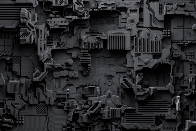 3d illustration of a pattern in the form of a metal, technological plating of a spaceship or a robot. abstract graphics in the style of computer games. close up of the black cyber armor on neon lights