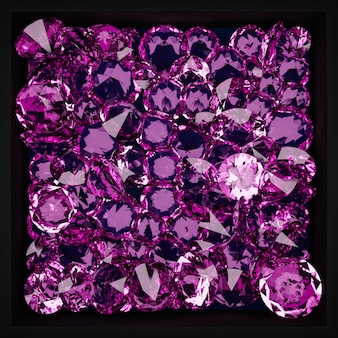 3d illustration of a pattern of many transparent diamonds hanging in the air under neon  pink  light on a monogrome background. large cut diamond