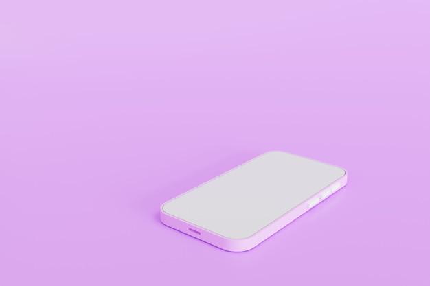 3d 그림입니다. 전화 분홍색 배경에 누워. 만화 장치 모형.