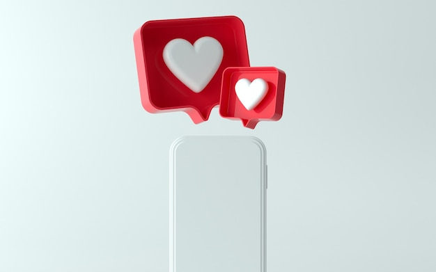 3d illustration of phone with like notification icon on top and side