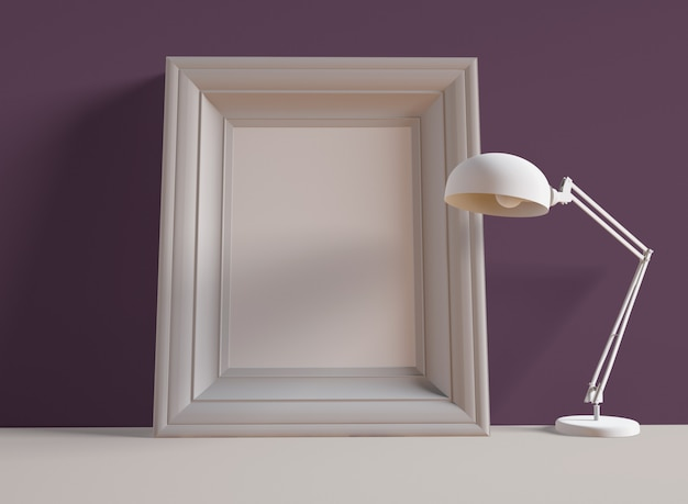 3d illustration. photo frame on shelf next to desk lamp.