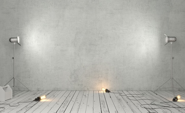 3d illustration photo studio room with gray concrete background and studio lights
