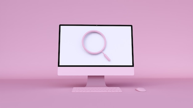 3d illustration of pink computer with icon search