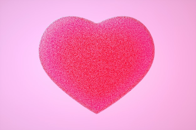 3d illustration of pink gummy heart with little peaces of sugar on light pink background