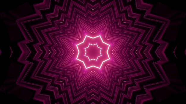 3d illustration of pink neon corridor
