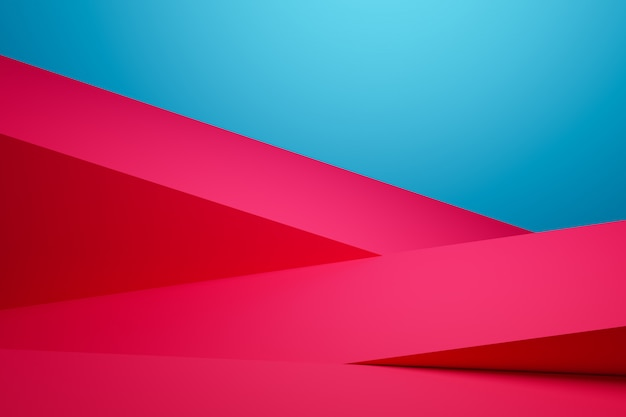 3d illustration of pink stripes of the same size turned in different directions.