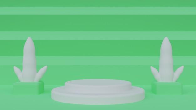 녹색 배경에 흰색 장소 3d 그림 연단