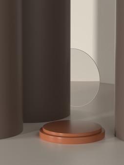 Постамент продукта иллюстрации 3d для промо или баннера с козырьком от солнца.