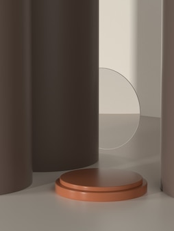 3d illustration product pedestal for promo or banner with sun shade.