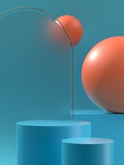 3d 일러스트레이션 제품 연단 또는 구와 밝은 빛이 있는 무대