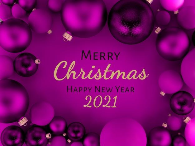 3 dイラスト、紫のクリスマスボール背景グリーティングカード、メリークリスマス、新年あけましておめでとうございます