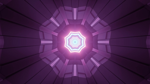 3d illustration of purple flower shaped geometric ornament with glowing neon octagonal stars in center as abstract futuristic design
