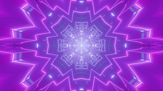 3d illustration of purple neon lines glowing and forming abstract ornament in violet tunnel