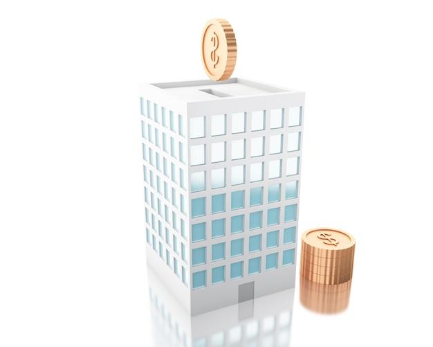 3d illustration. putting coins into piggy bank building