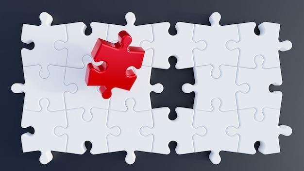 3d иллюстрации. кусочки головоломки. красный кусок головоломки. 3d визуализация