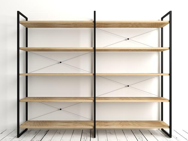 3d иллюстрации. стеллажная мастерская или складская витрина-лофт. мебель