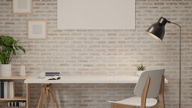 3d иллюстрации, уголок для чтения со столом, стулом и украшениями в домашнем офисе, 3d-рендеринг