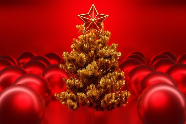 Иллюстрация 3d настоящая рождественская елка со звездой и мячом вокруг. макет поздравительной открытки с текстом, праздничным плакатом или праздничными приглашениями. атрибуты рождества и нового года.