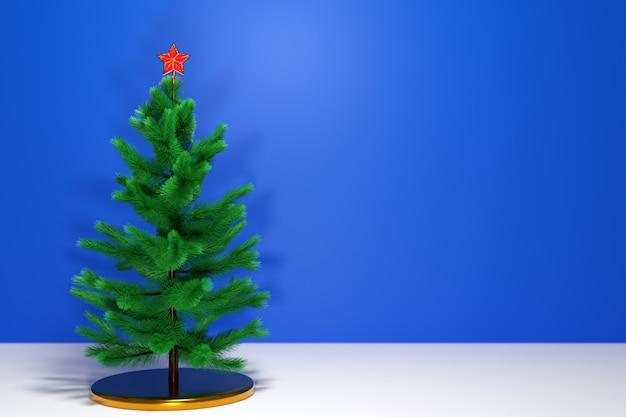 Иллюстрация 3d настоящая рождественская елка со звездой. макет поздравительной открытки с текстом, праздничным плакатом или праздничными приглашениями. атрибуты рождества и нового года.