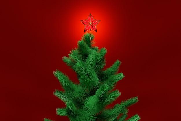 Иллюстрация 3d настоящая рождественская елка со звездой. макет поздравительной открытки с текстом