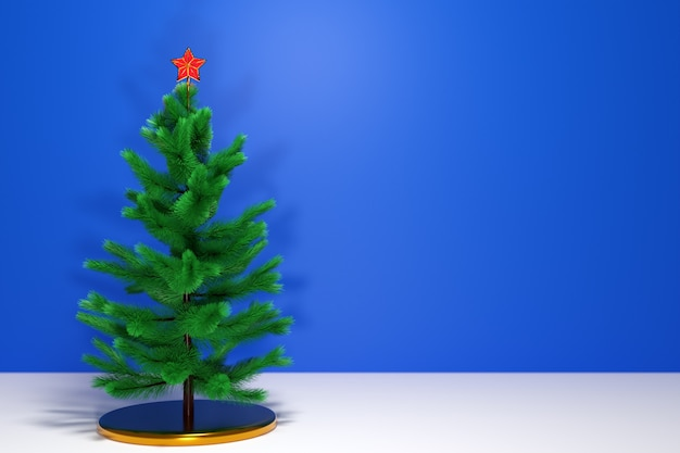 3d illustration real   christmas tree with star. mock-up for greeting card with text, holiday poster or holiday invitations. attributes of christmas and new year.