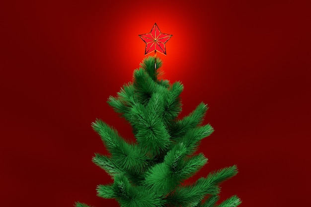 3d illustration real   christmas tree with star. mock-up for greeting card with text
