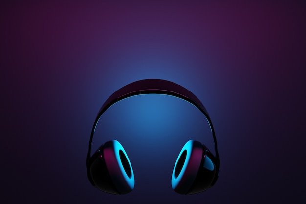 3d illustration realistic black wireless headphones isolated on black background under pink and blue neon light.