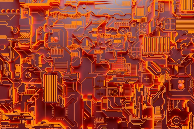 3d illustration of a realistic model of a robot or orange cyber armor. close-up equipment for mining crypto-bitcoin; ether. video cards; motherboards